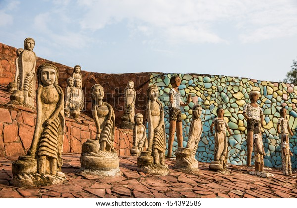 CHANDIGARH, INDIA - June 21, 2016: Statues at the rock garden on June 21, 2016 in Chandigarh, India. Nek Chand established the garden in 1957.