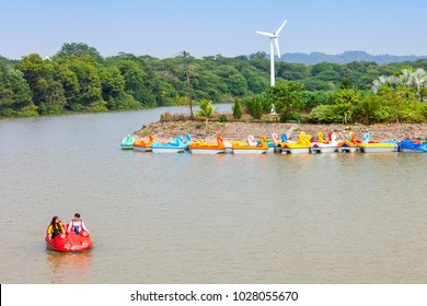 CHANDIGARH, INDIA - NOVEMBER 04, 2015: Sukhna Lake in Chandigarh, India, is a reservoir at the foothills of the Himalayas, the Shivalik hills.