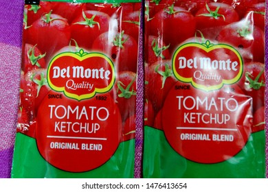 """""""Chandigarh , Punjab / India - August Monday 2019: del monte quality tomato ketch up original blend, two packet"""""""
