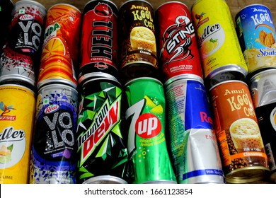 """""""Chandigarh, Punjab / India - February Monday 2020: a view of cold drink cans"""""""