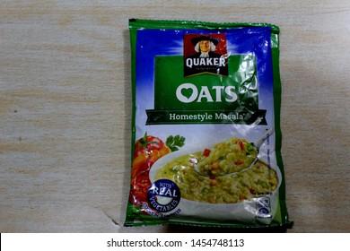 """Chandigarh , Punjab / India - July Thursday 2019: quaker oats packet, view"""
