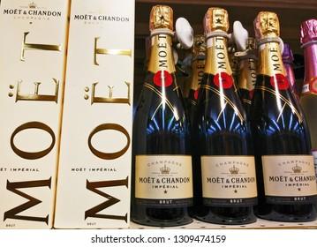 Moët & Chandon Champagnes bottles on shelf of a store stand in Kiev, Ukraine, 8 February 2019.