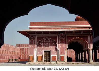 Chandra Mahal museum at City Palace in Jaipur, Pink city, Rajasthan, India.