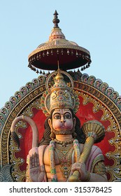 CHANDRAPUR,MH, INDIA - OCTOBER,2013: Statue of Lord Hanuman , this majestic statue is built at outskirt of chandrapur district of Maharashtra, India. This image was photographed on 01-October-2013.