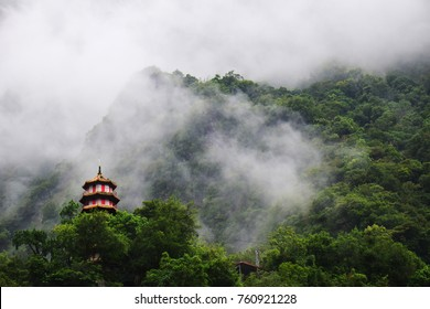 Changchun temple, Eternal Spring Shrine at Taroko National Park in Hualien, Taiwan in rainy season.