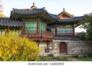 Changdeokgung palace Seunghwa ru traditional korean palace building taken during autumn season in Seoul, South Korea