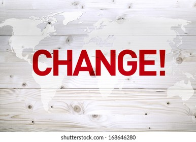 Change article on world map wooden background