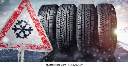 change a car tires from summer for winter - danger sign
