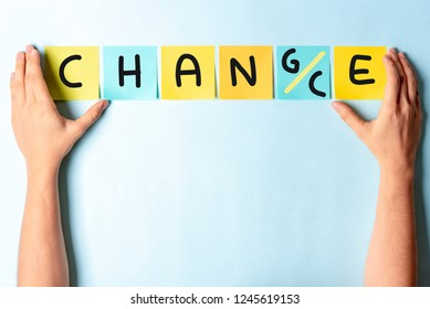 Change to chance concept. Hands showing multi colored notes with the words change and chance.