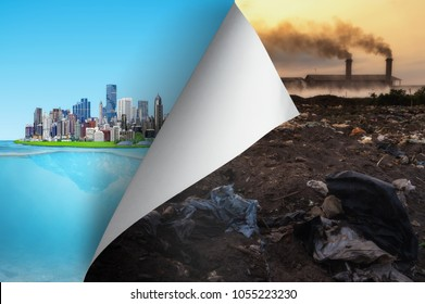 Change concept, Turning pollution page reveal to city friendly, hope inspiration to environmental protection and campaign.