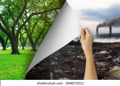 Change concept, Woman hand turning pollution page to Tree garden friendly, changing reality to hope inspiration to environmental protection and environmental campaign.