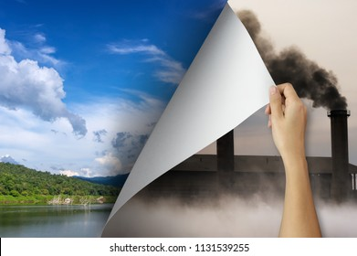 Change concept, Woman hand turning pollution page revealing nature landscape, changing reality, hope inspiration,environmental protection, change weather, environmental campaign.