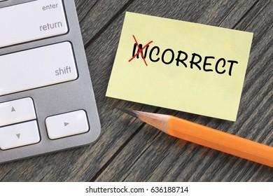 change of incorrect to correct