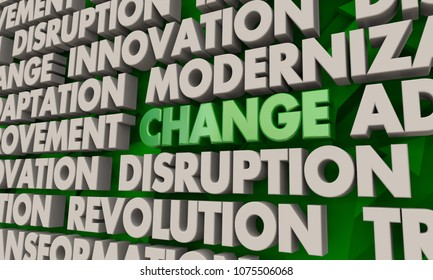 Change Innovation Disruption Transformation Word Collage 3d Illustration