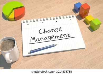 Change Management - text concept with notebook, coffee mug, bar graph and pie chart on wooden background - 3d render illustration.