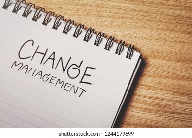 change management word on notebook