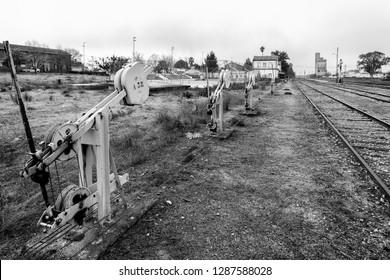 Change of needles at an old railway station near Arroyo de la Luz. Extremadura Spain.