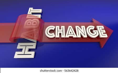 Change Old Bad Habit Improve New Lifestyle Arrow Over Word 3d Illustration
