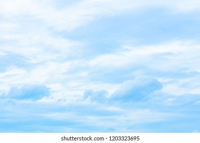 The change of the shape of the white cloud to blue sky.