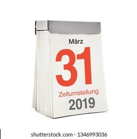 change of summer Time 2019 - März, Zeitumstellung