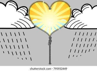Change sun and clouds, illustration