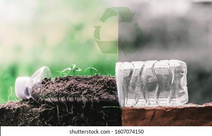 Change waste plastic bottles that are thrown into the earth to reduce resources by reuse to save the world.Eco green sustainable living concept, plastic free, zero waste concept. recycling concept