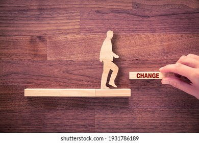 Change is your chance motivational concept. Mentor motivate to change and to take opportunity in post covid-19 era after pandemic, flat lay top down view design.