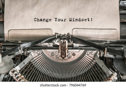 Change Your Mindset printed on an old typewriter. Close up.