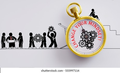 """""""Change your mindset"""" words on pocket watch with workers doodles carry on cog and read plan to fix it on white background - business, time and finance concept"""