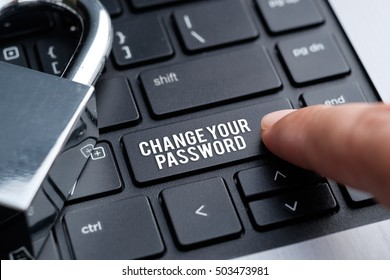 Change Your Password, padlock, laptop. Internet security concept.