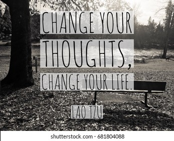 Change Your Thoughts typography design on image of park bench.