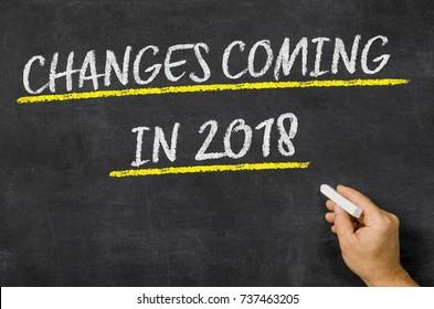 Changes Coming in 2018 written on a blackboard