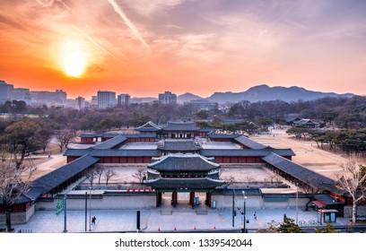 Changgyeonggung palace in sunset at seoul city south Korea