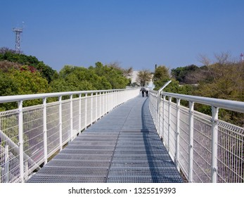 CHANGHUA, TAIWAN - FEBRUARY 25 2019: The Changhua Skywalk on February 25, 2019 in Changhua. The Skywalk is made of light steel frames and connects various tourist attractions of Changhua.