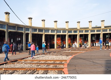 Changhua, Taiwan - JANUARY 18, 2015: Various trains are on display at Changhua railway roundhouse on January 18, 2015 in Changhua, Taiwan.The roundhouse was built in 1922