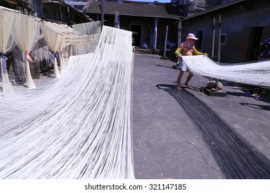 Changhua, Taiwan, the traditional method of September 19, 2015 of dried thin noodles in Taiwan