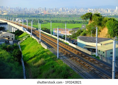 Changhua,Taiwan- May 17, 2014: Taiwan High Speed Rail is the fastest train in Taiwan. It takes two hours from Taipei to Kaohsiung.