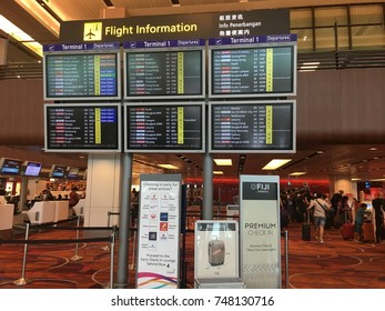 Changi Aiport, Singapore, 18th October 2017 - Information of an arrival and departure of an aeroplane going or arriving to their destination