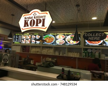 Changi Airport, Singapore, 18th October 2017 -       Killiney Kopitiam is a Singapore based on traditional kopitiam style services cafe selling toast products, soft boiled eggs and coffee