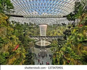 Changi Airport, Singapore - April 17, 2019: Jewel Changi Airport Grand Opening on April17, 2019. It is a home to world's tallest indoor waterfall.