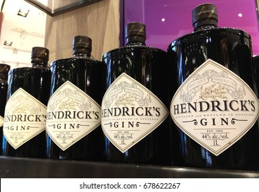 CHANGI AIRPORT, SINGAPORE- JULY 1, 2017: Hendrick's gin on store shelf. Hendrick's Gin is a brand of gin produced by William Grant & Sons in Girvan, Scotland, and launched in 1999.