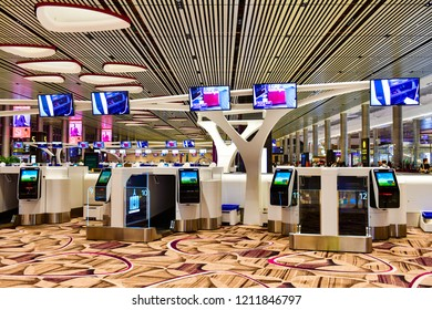 Changi airport, Singapore - OCTOBER 3,2018 : Automatic self check-in kiosk, Passengers can self check-in on this kiosks in Terminal 4 is a newly built passenger terminal building at Singapore