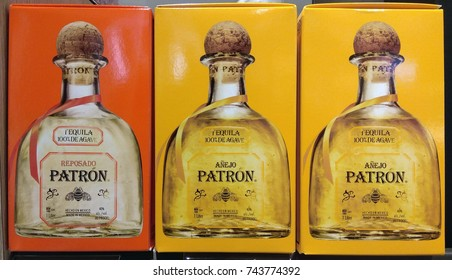CHANGI AIRPORT, SINGAPORE - OCTOBER 4, 2017: Patron Tequila produced of Mexico on store shelf. Patron is a brand of tequila products by the Patron Spirits Company.