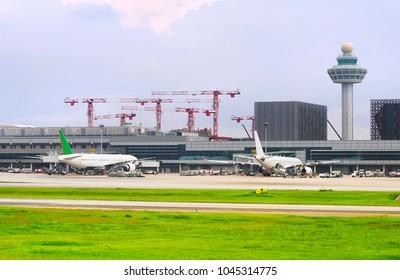 Changi International Airport construction site. Singapore.