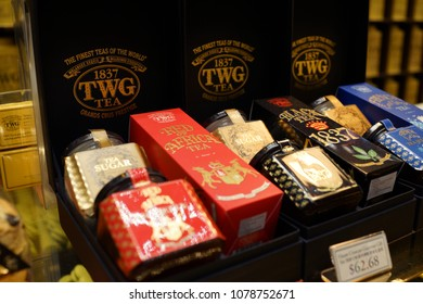CHANGI, SINGAPORE - APR 22, 2018: TWG tea salon and boutique in New Changi Airport Terminal 4, Singapore. TWG Tea is a brand of tea which was established in Singapore in 2008.