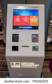 Changi, Singapore / Singapore - Jan 9th 2018: An unmanned Ground Transport Concierge Kiosk at Changi Airport's Terminal 4, where tourists can self book for transportation from airport to the city