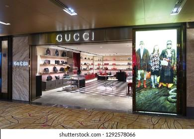 Changi, Singapore - January 14, 2019 : Exterior shop facade of a Gucci handbag outlet at Changi Airport Terminal 2