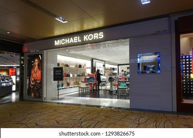 Changi, Singapore - January 14, 2019 : Exterior shop facade of a Michael Kors luxury bag outlet at Changi Airport Terminal 2