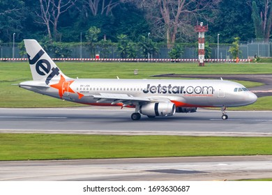 Changi, Singapore – January 29, 2018: Jetstar Asia Airways Airbus A320 airplane at Changi airport (SIN) in Singapore. Airbus is a European aircraft manufacturer based in Toulouse, France.