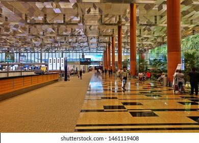 Changi, Singapore - July 25, 2019: Portrait of interior design in the Changi International Airport Terminal 3, Singapore.